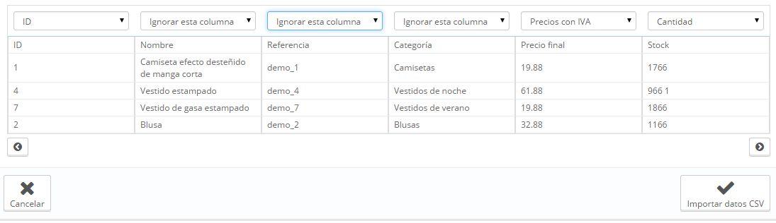 actualizar stock con CSV